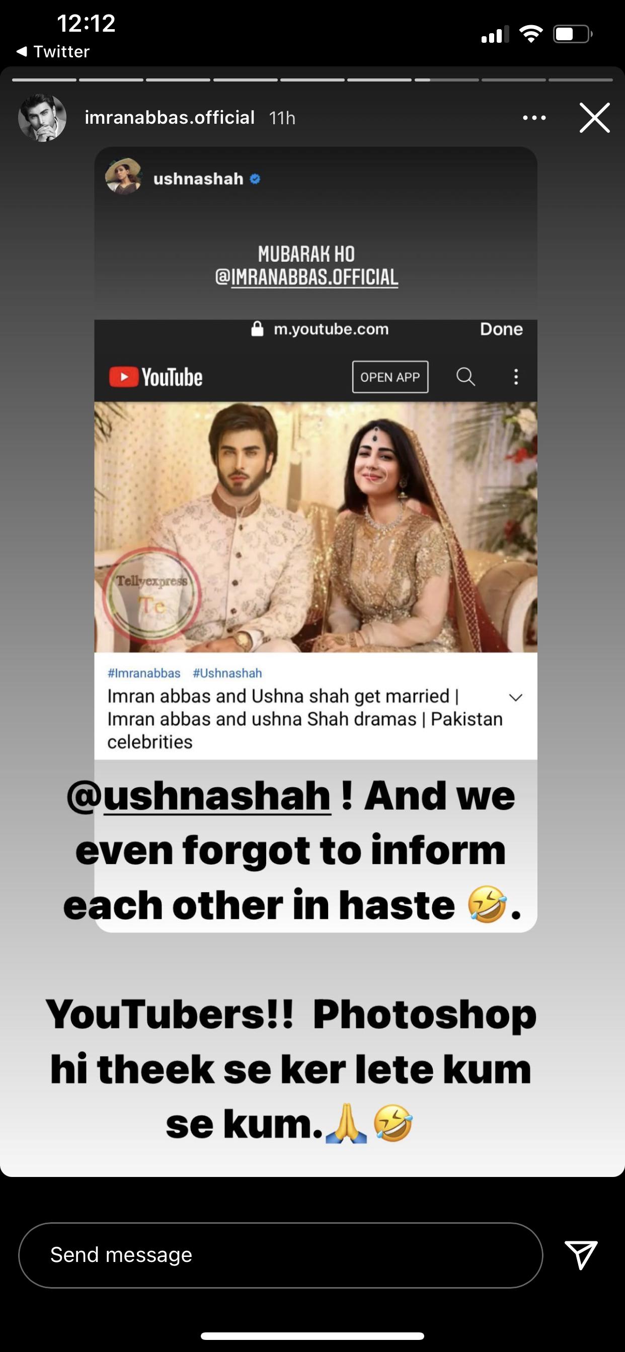 Imran Abbas, Ushna Shah laugh off wedding rumours