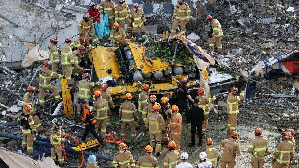 South Korea: Nine die as building collapses on to bus in Gwangju