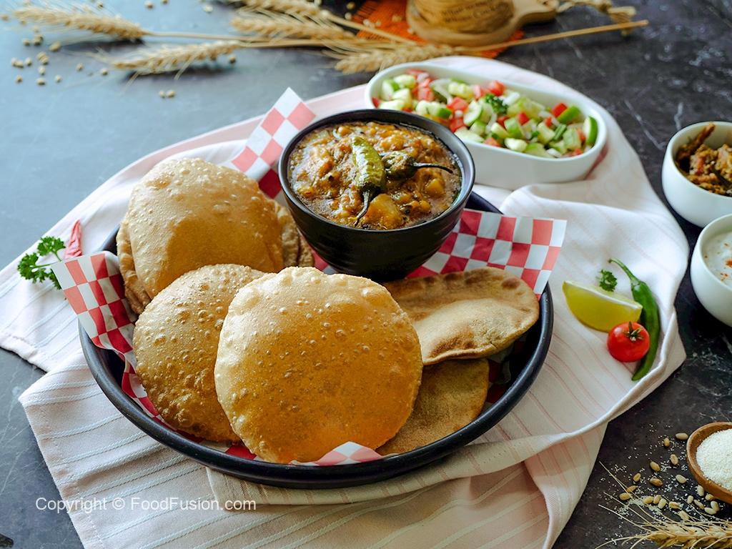 Whole wheat Puri  Air fried and fried