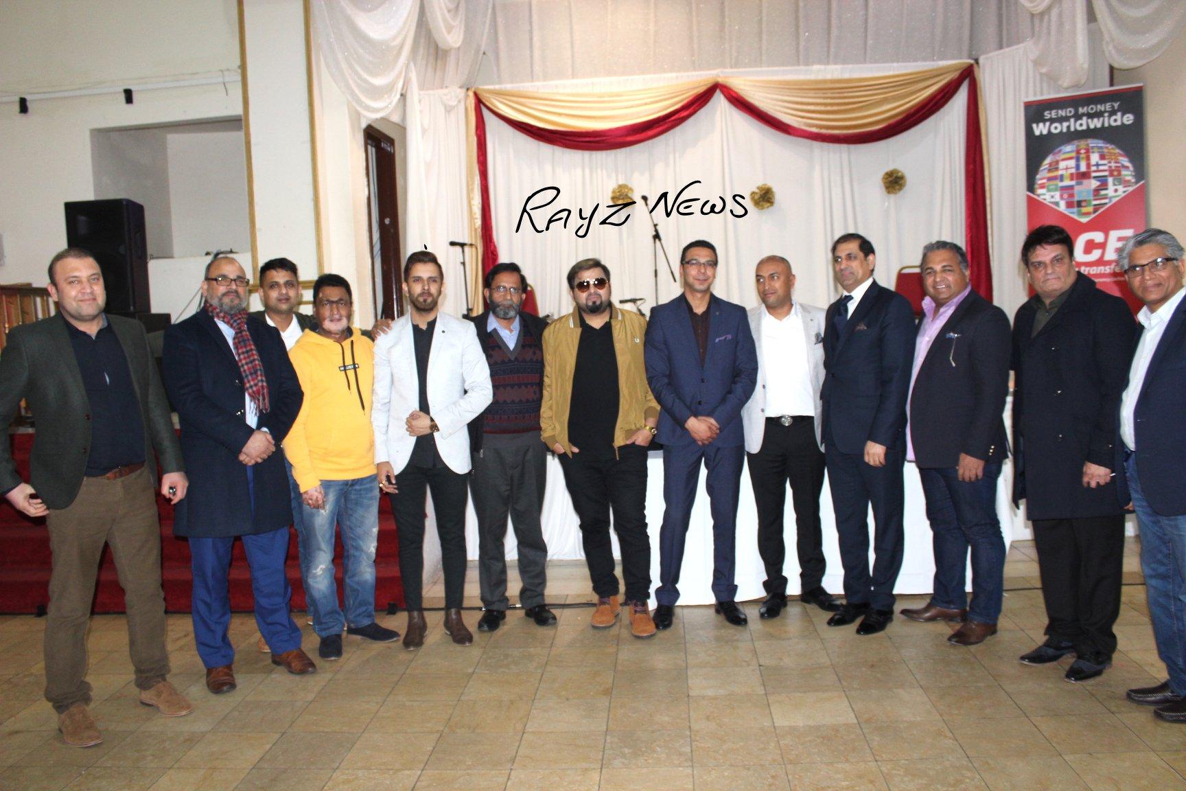 entertainment promoter Najeeb Ullah with top stars of UK and Pakistan